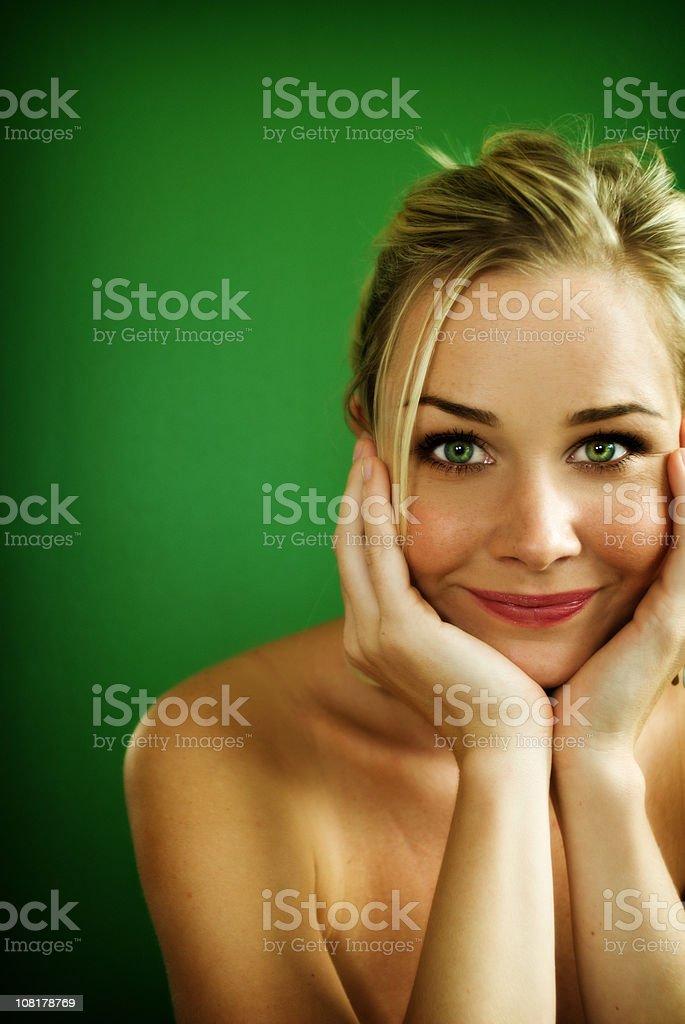 beautiful woman smiling stock photo