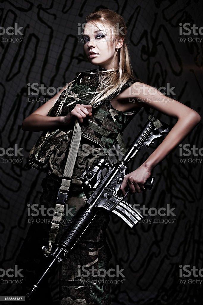 Beautiful woman soldier stock photo