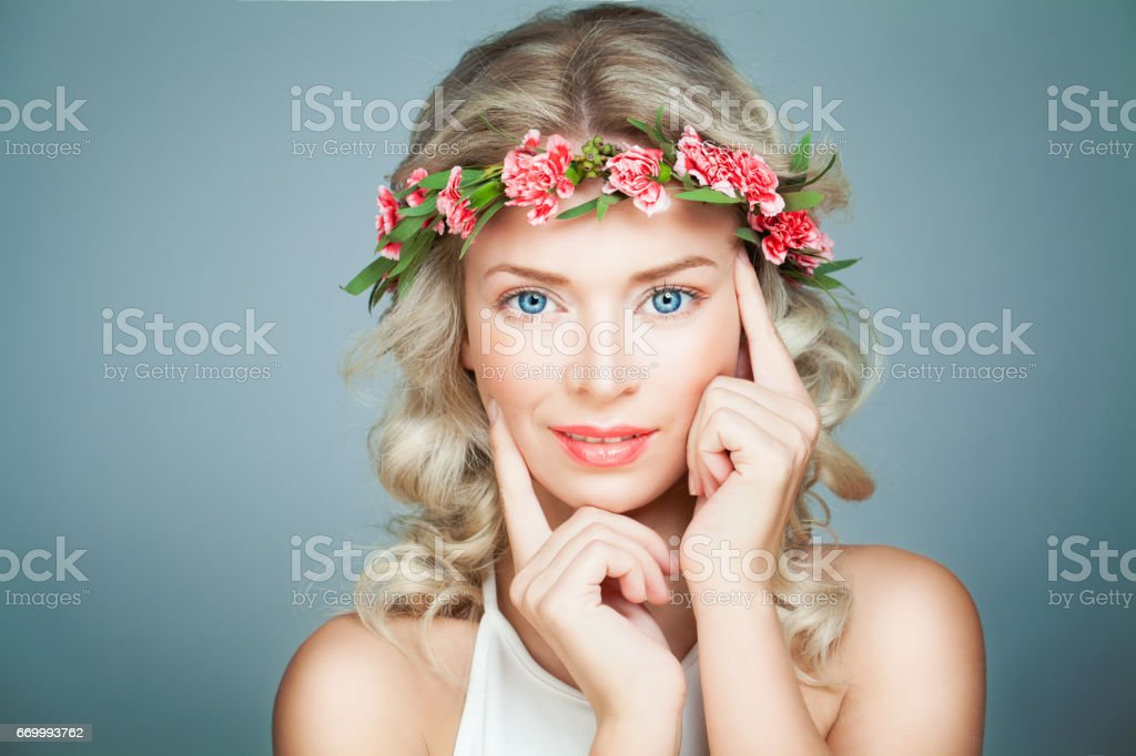 Beautiful Woman Spa Model with Healthy Skin. Spa Beauty, Antiage and Cosmetology Concept stock photo