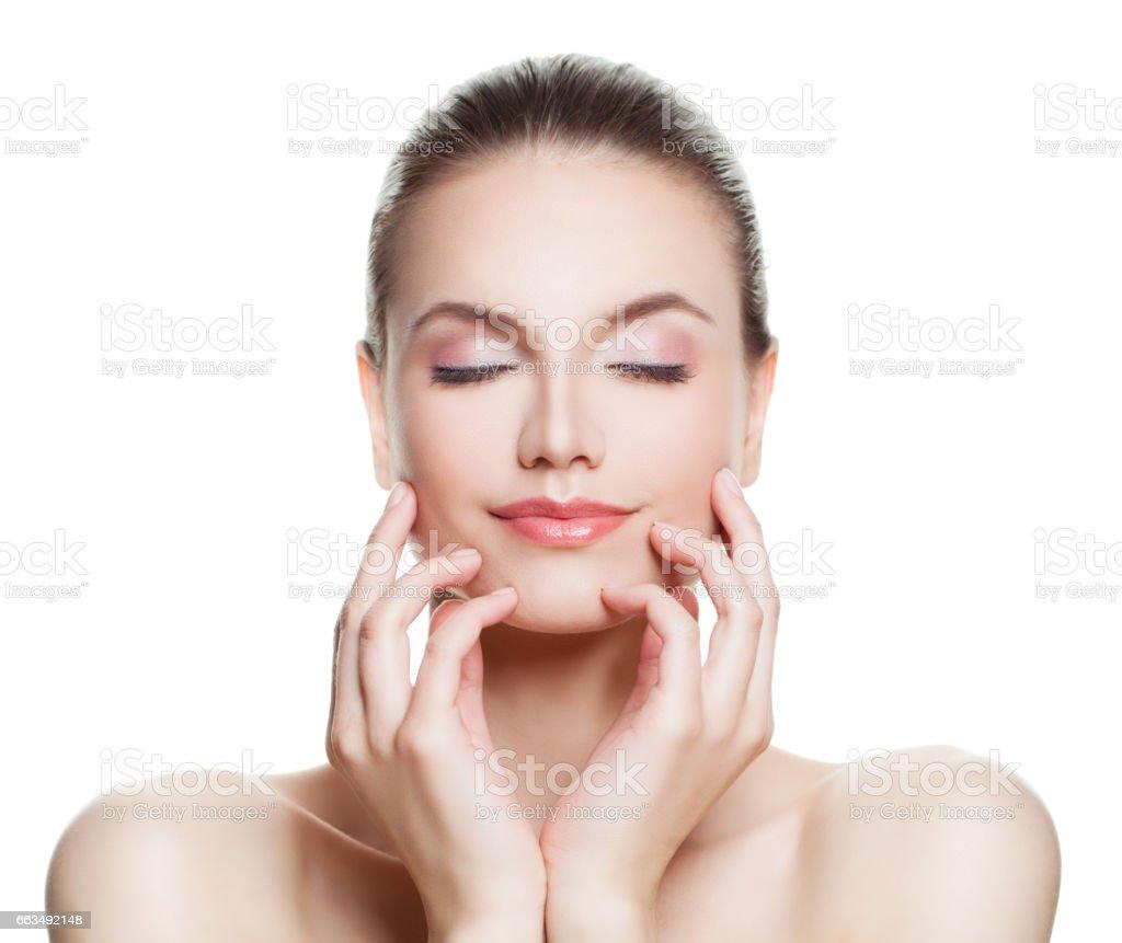 Schöne Frau Spa Modell Mit Nude Makeup Perfektes Gesicht Kosmetik