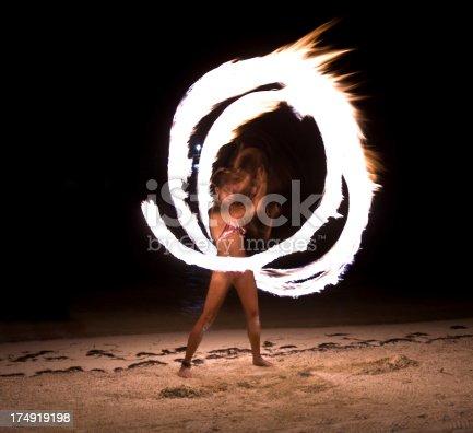 Beautiful woman spinning fire