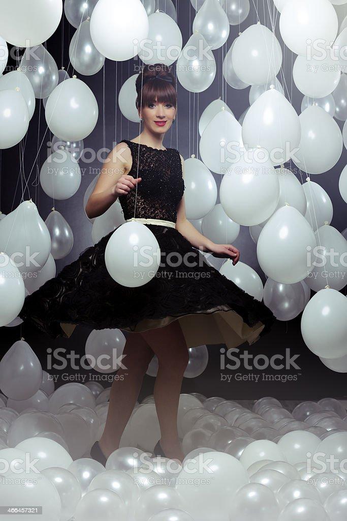 beautiful woman spinning stock photo