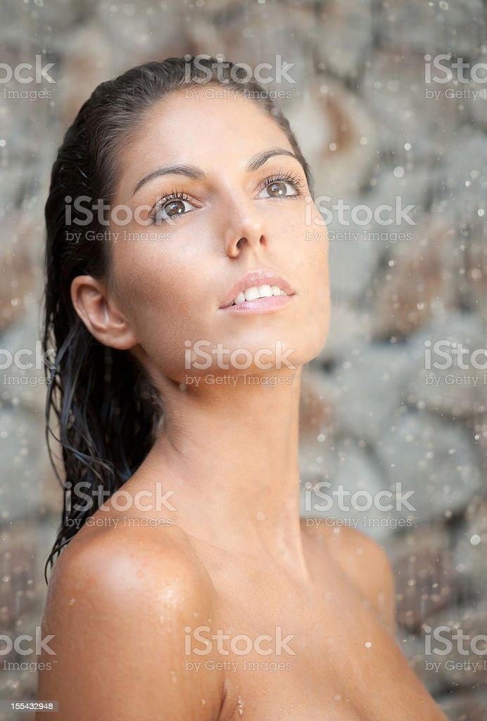 Beautiful Woman standing in the Rain (XXXL) royalty-free stock photo