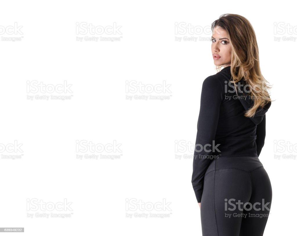 Beautiful woman stands stock photo