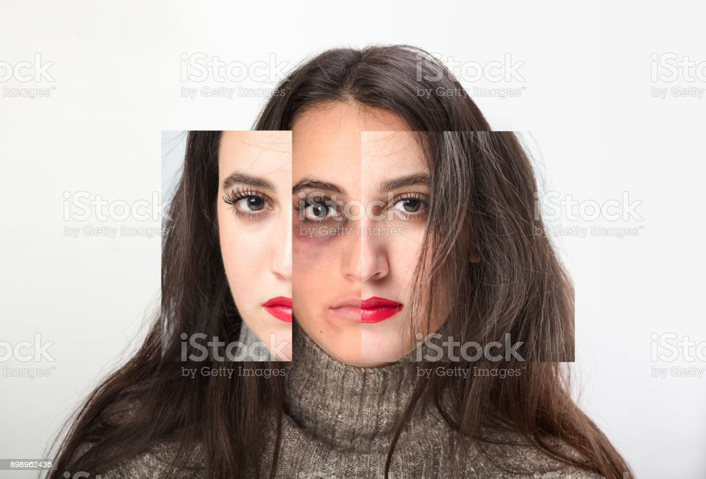 Beautiful woman subjected to domestic violence stock photo