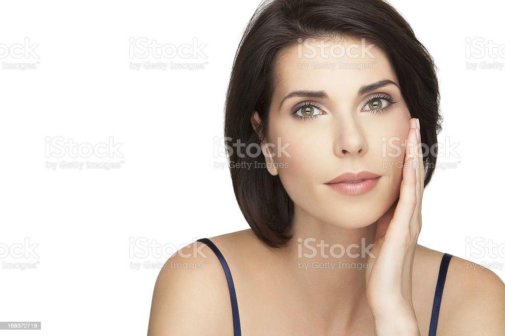 Hermosa mujer cuidado de la piel - foto de stock