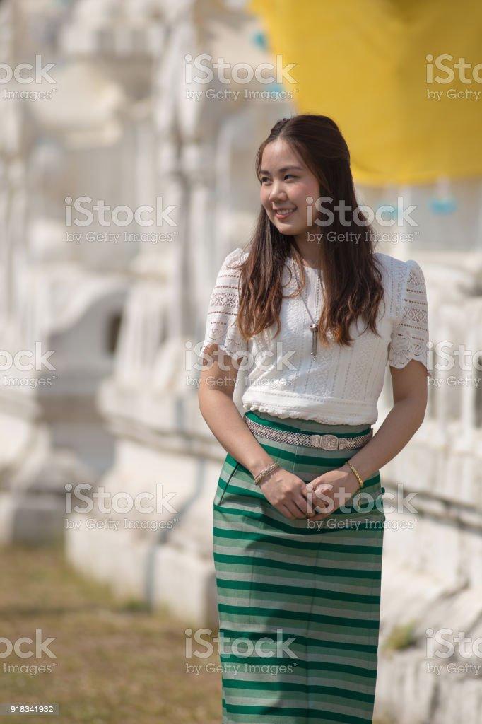 beautiful woman thai traditional culture, Asian woman wearing traditional Thai culture at countryside stock photo