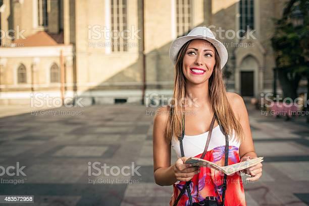 Beautiful Woman Tourist Stock Photo - Download Image Now