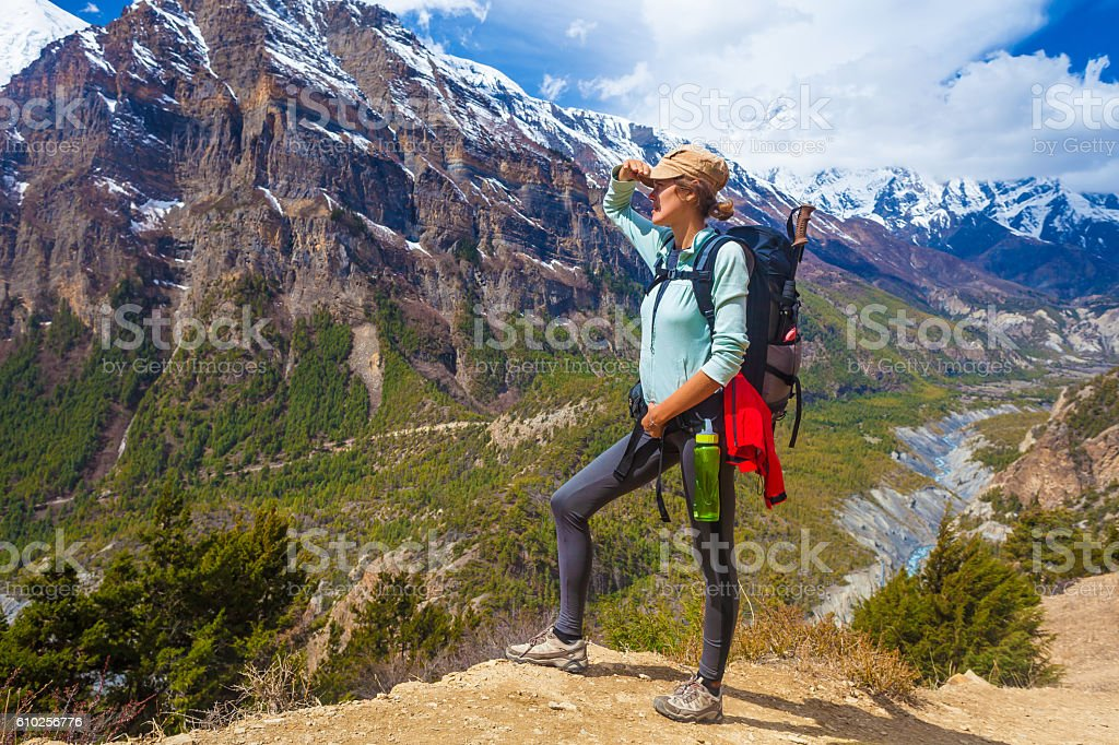 Beautiful Woman Traveler Backpacker Mountains Path.Young Girl Looking Right стоковое фото