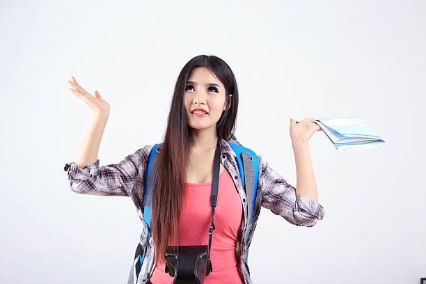 Beautiful woman traveler stock photo