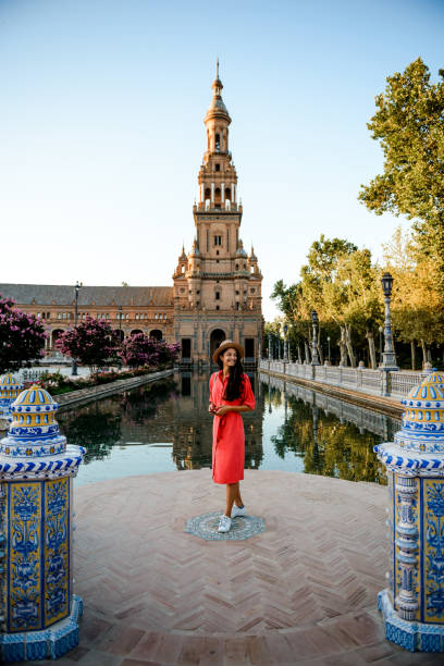 Beautiful woman traveling. Elegant woman visiting Plaza de Espana, Sevilla cordoba spain stock pictures, royalty-free photos & images