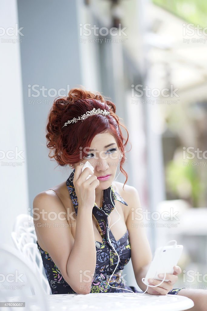 Beautiful woman upset and crying royalty-free stock photo