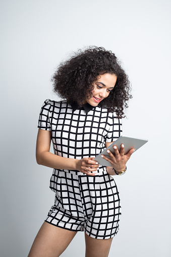 Beautiful Woman Using Digital Tablet Stock Photo - Download Image Now