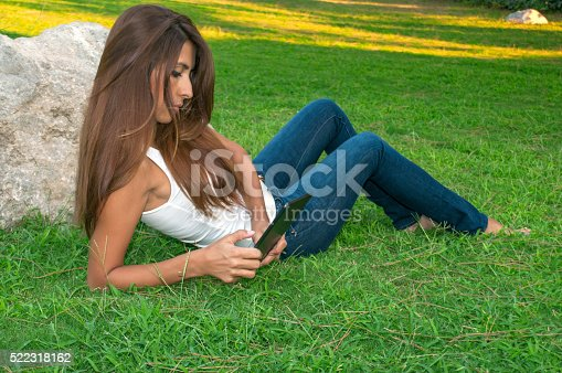 1128981457 istock photo Beautiful woman using digital tablet 522318162