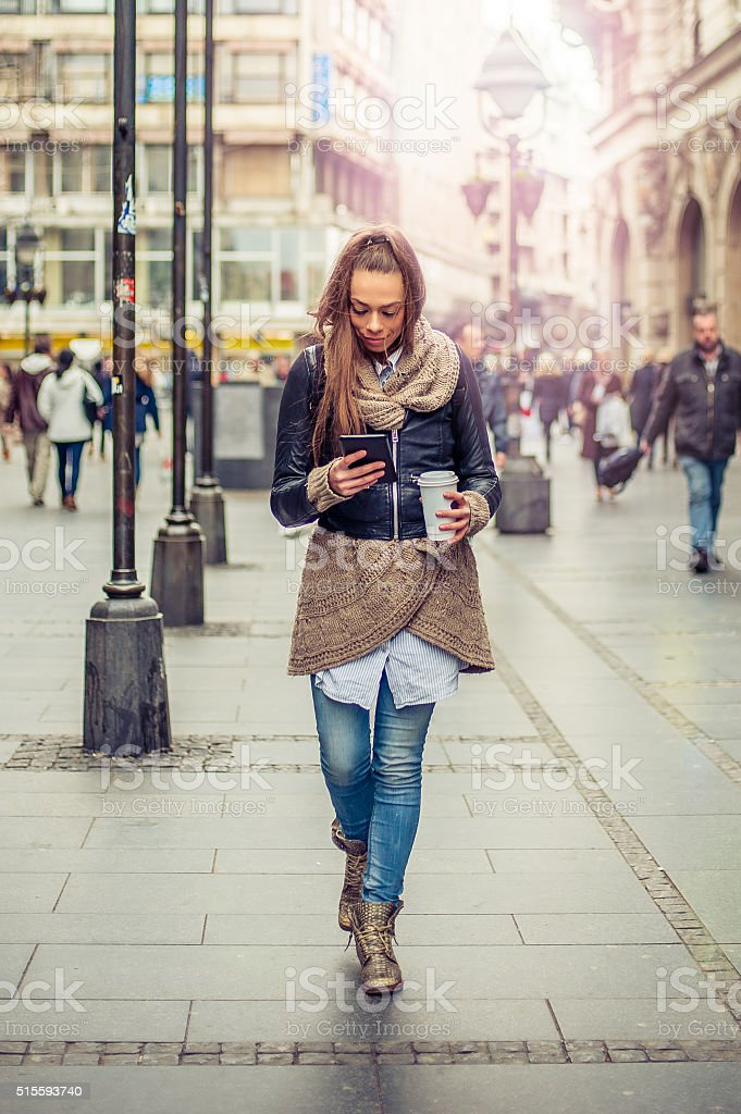 Beautiful woman using tablet computer stock photo