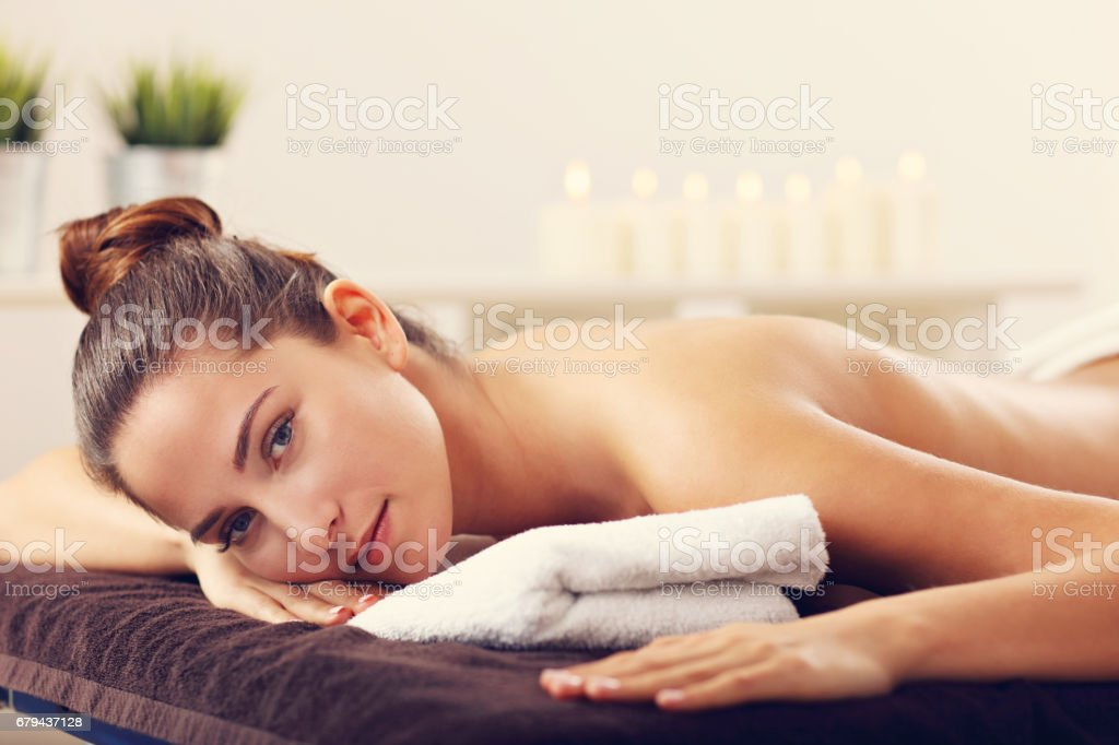 Beautiful woman waiting for massage in spa royalty-free stock photo