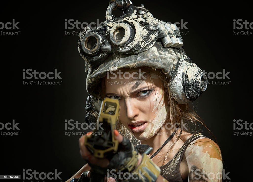 Beautiful woman warrior with arms Lizenzfreies stock-foto