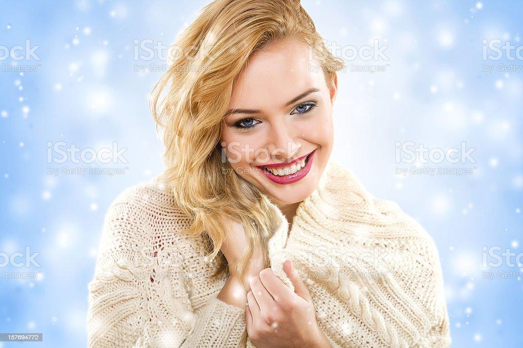 Beautiful woman wear cardigan in winter royalty-free stock photo