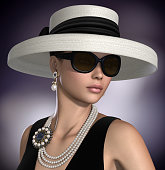 Amazing 3D render of a beautiful woman wearing  a retro style classic glamour fashion outfit and jewelry.