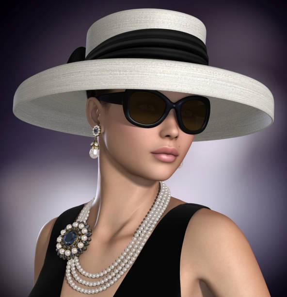 Hermosa mujer usar joyería de moda Glamour clásico - foto de stock