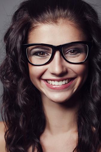 Beautiful Woman Wearing Eyeglasses Stock Photo