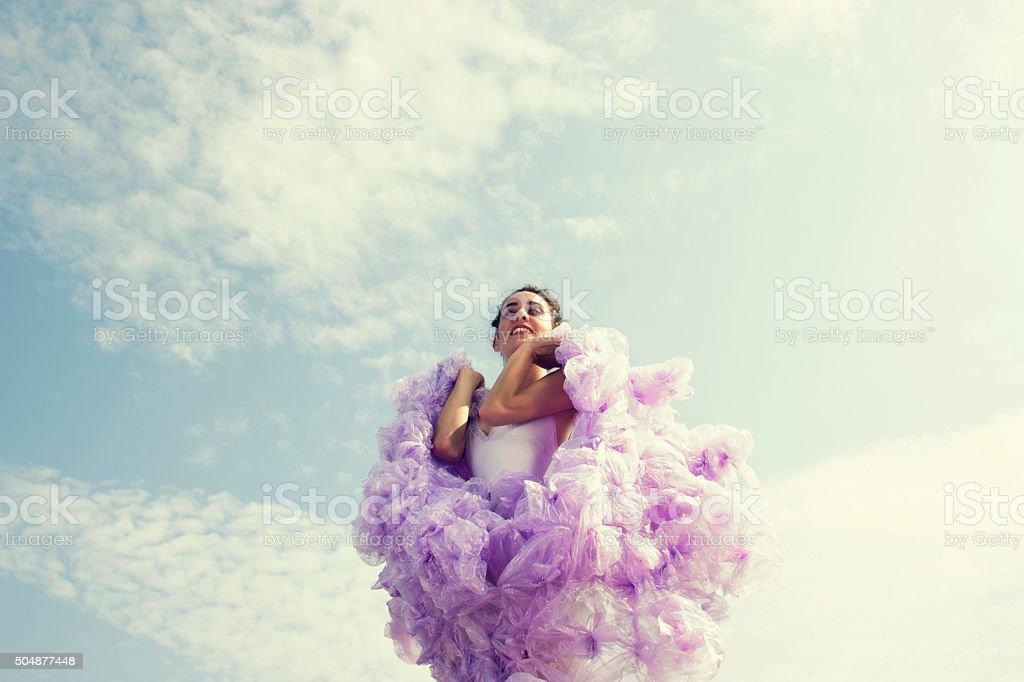beautiful woman wearing fashion violet dress stock photo