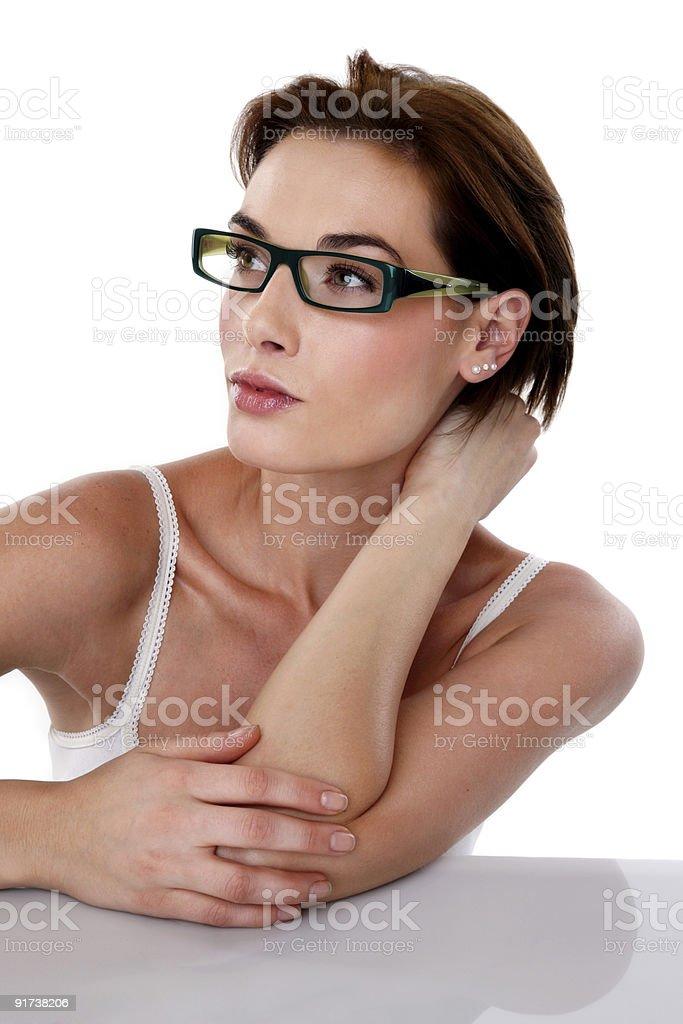 Beautiful woman wearing glasses royalty-free stock photo