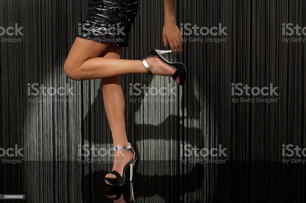 Beautiful, healthy and sexy Feminine Legs, Standing on a Reflective...