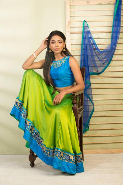 beautiful woman wearing lehengas stock photo