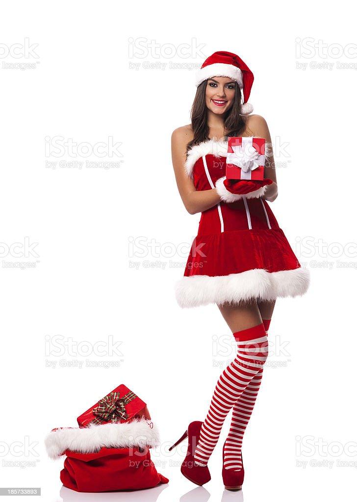 Foto Di Natale Con Donne.Bella Donna Che Indossa Vestiti Di Babbo Natale Con Regalo