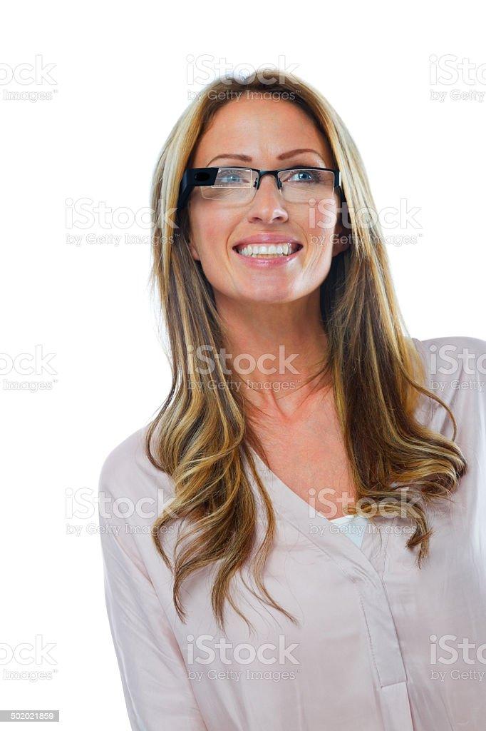 Beautiful woman wearing smart glasses stock photo
