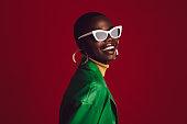 istock Beautiful woman wearing stylish sunglasses 1252858062