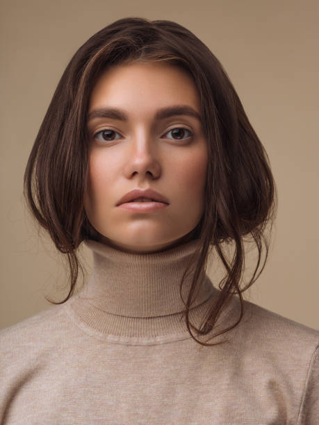 Beautiful woman wearing sweater stock photo