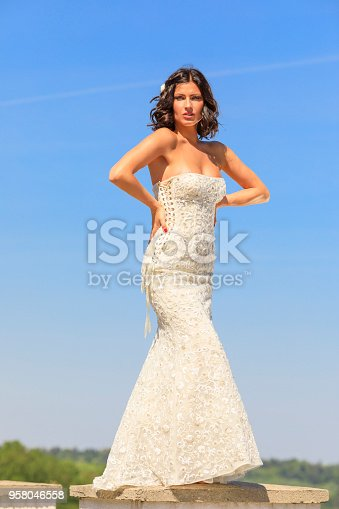 506798692 istock photo Beautiful woman wearing wedding dress. Fashion portrait young women dressed elegantly lifestyles. 958046558
