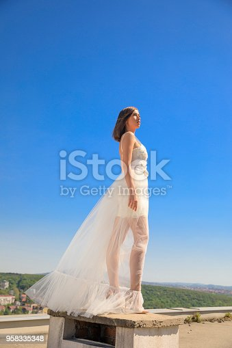 506798692 istock photo Beautiful woman wearing wedding dress. Fashion portrait young women dressed elegantly lifestyles. 958335348