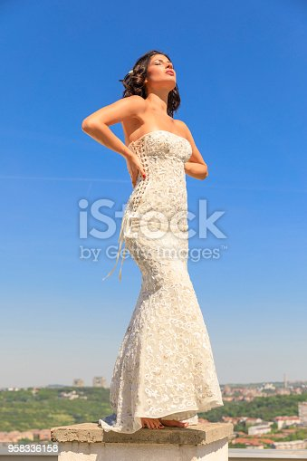 506798692 istock photo Beautiful woman wearing wedding dress. Fashion portrait young women dressed elegantly lifestyles. 958336158