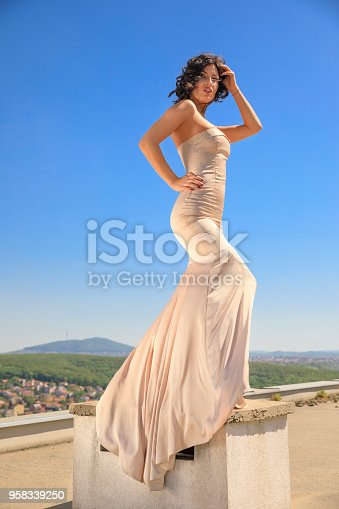 506798692 istock photo Beautiful woman wearing wedding dress. Fashion portrait young women dressed elegantly lifestyles. 958339250