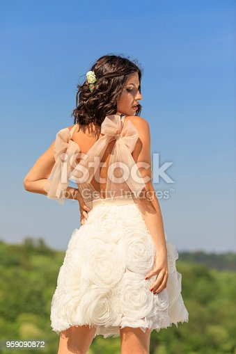 506798692 istock photo Beautiful woman wearing wedding dress. Fashion portrait young women dressed elegantly lifestyles. 959090872