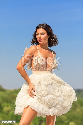 506798692 istock photo Beautiful woman wearing wedding dress. Fashion portrait young women dressed elegantly lifestyles. 959093678