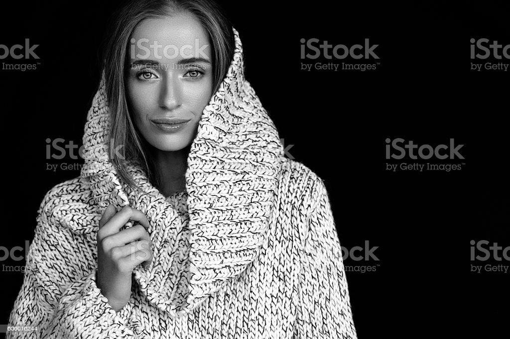 Beautiful woman wearing winter clothes stock photo