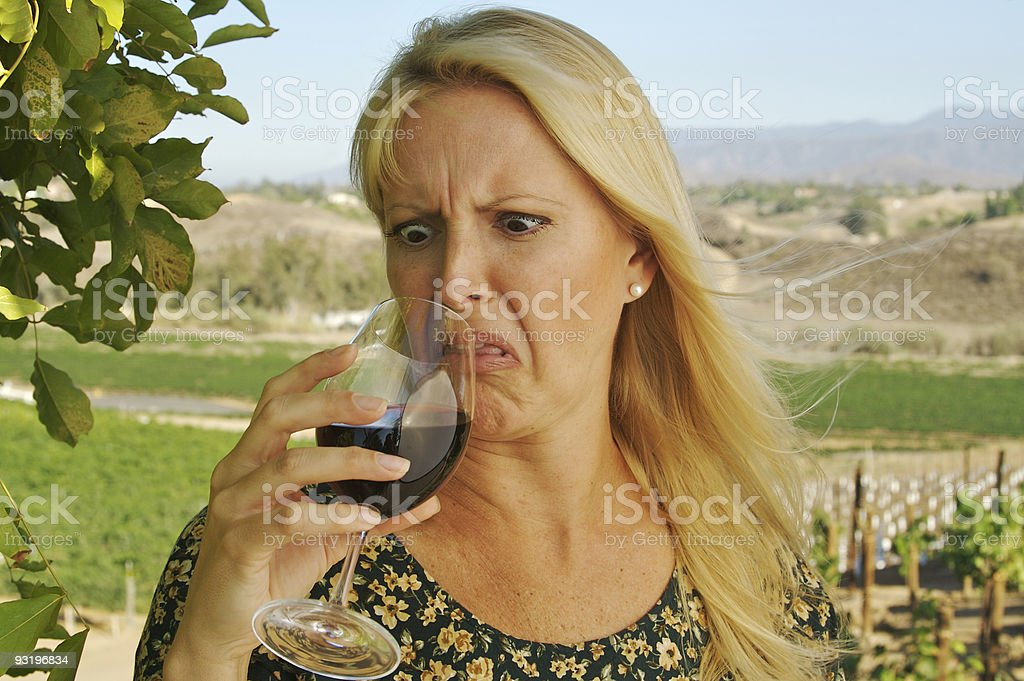 Beautiful Woman Wine Tasting. Fly in your glass? stock photo