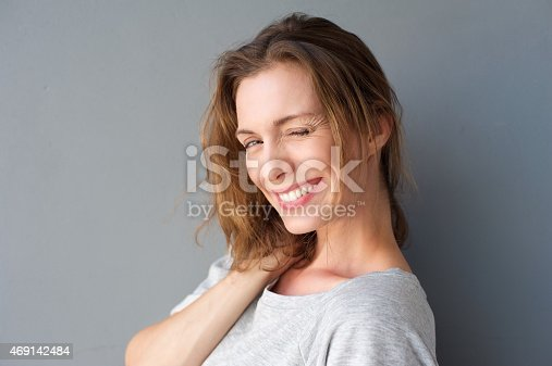 928358584 istock photo Beautiful woman winking her eye and flirting 469142484
