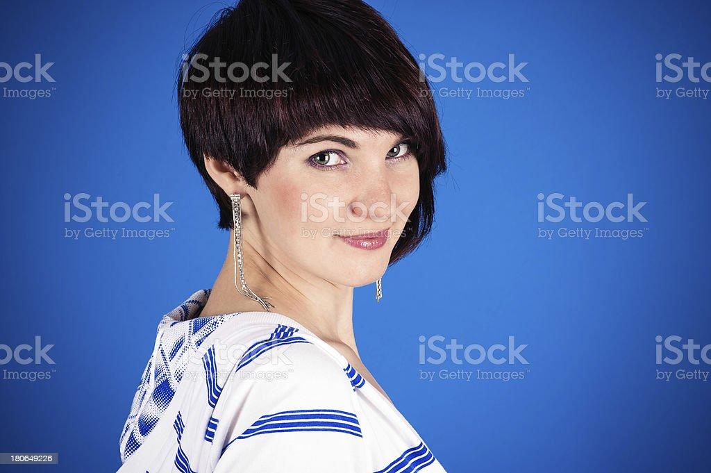 beautiful woman with a bang royalty-free stock photo