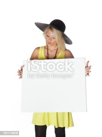 157609352 istock photo beautiful woman with a billboard 182216606