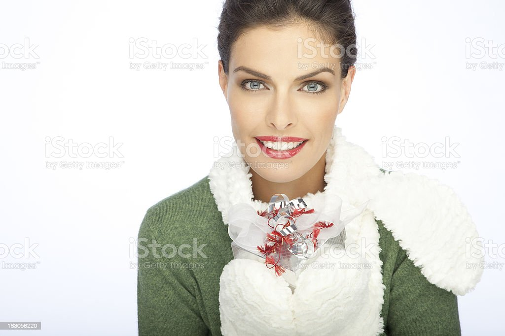 Beautiful Woman With A Christmas's Gift stock photo