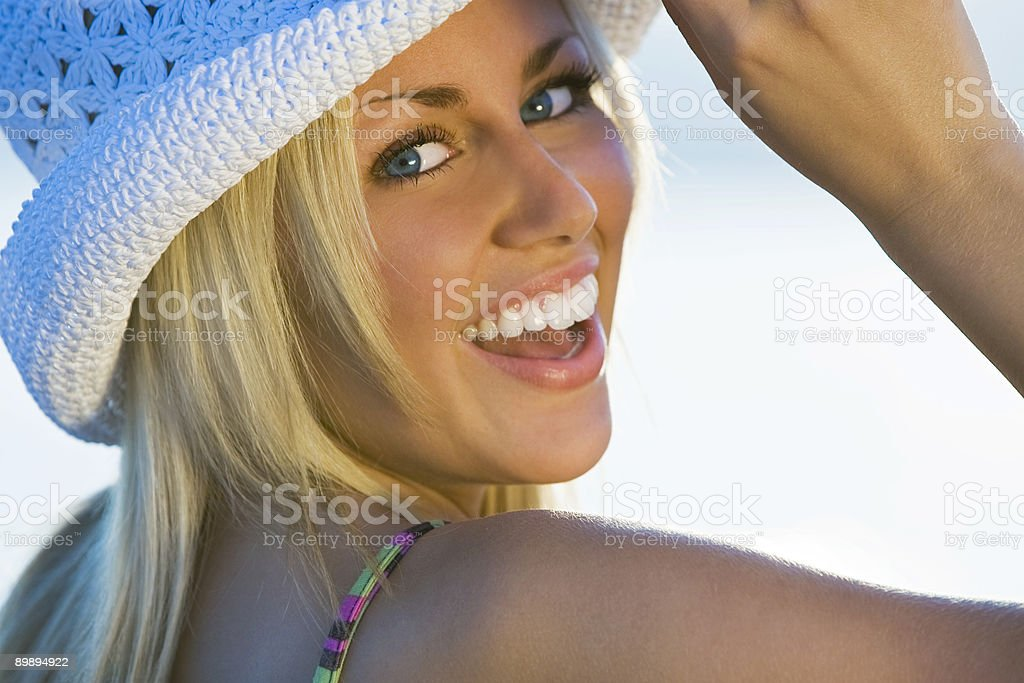Beautiful Woman With A Fun Filled Face Laughing royalty-free stock photo