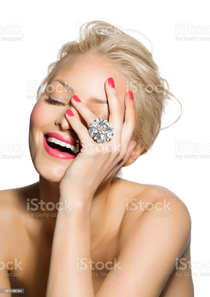 A beautiful woman with a large diamond ring royalty-free stock photo