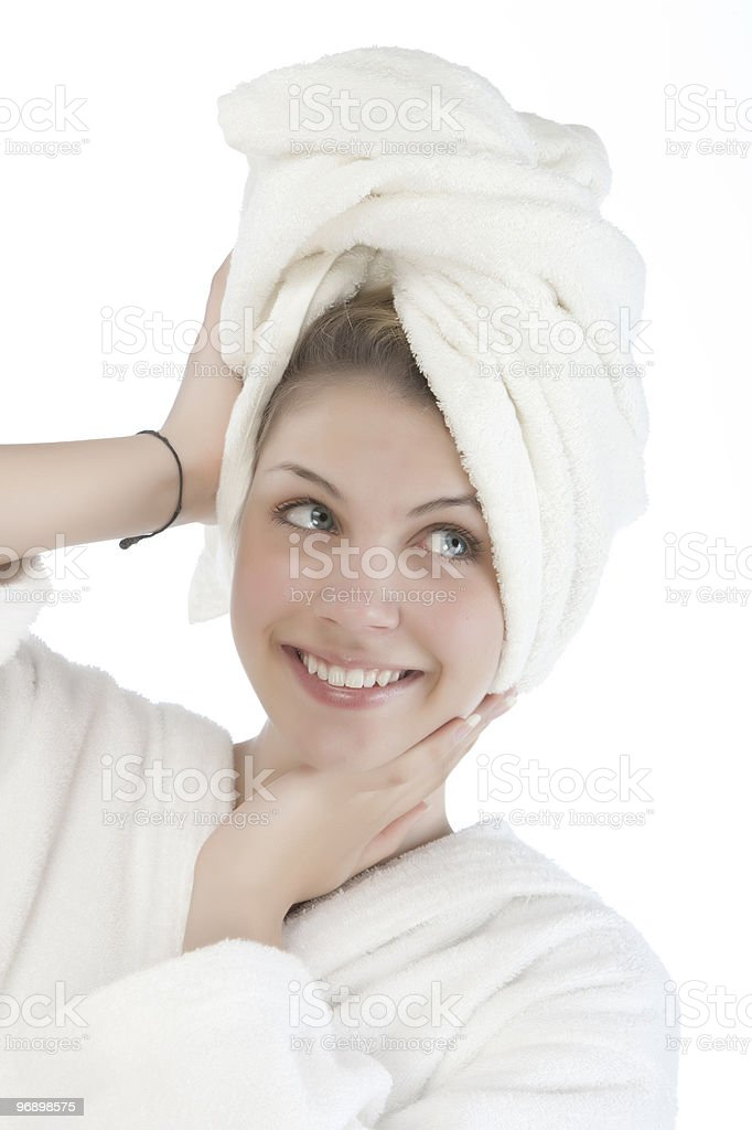 Beautiful woman with a white towel royalty-free stock photo