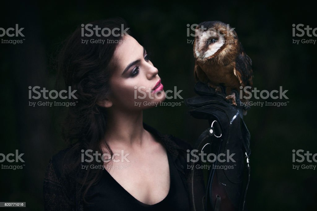 Beautiful woman with an owl. stock photo