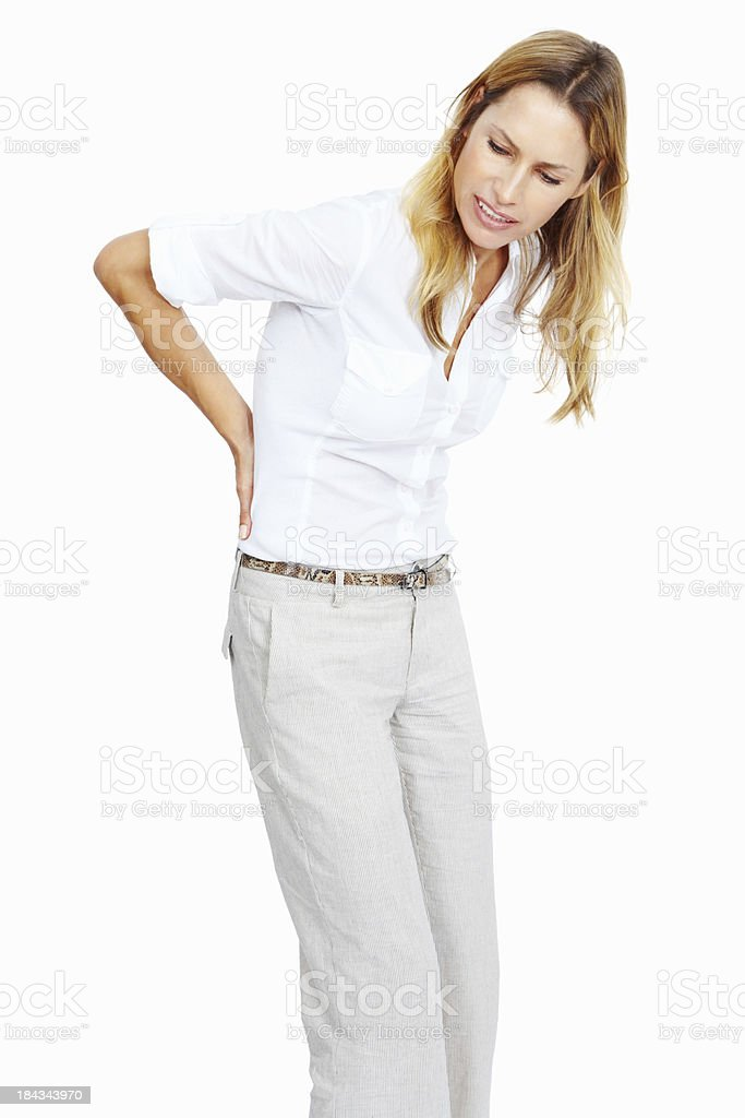 Beautiful woman with back pain royalty-free stock photo